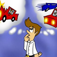 Man thinking about a car wreck narrow miss